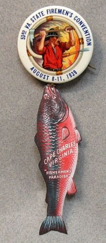 "1939 VIRGINIA STATE FIREMEN'S CONVENTION large 1.75"" pinback button & hanger +"
