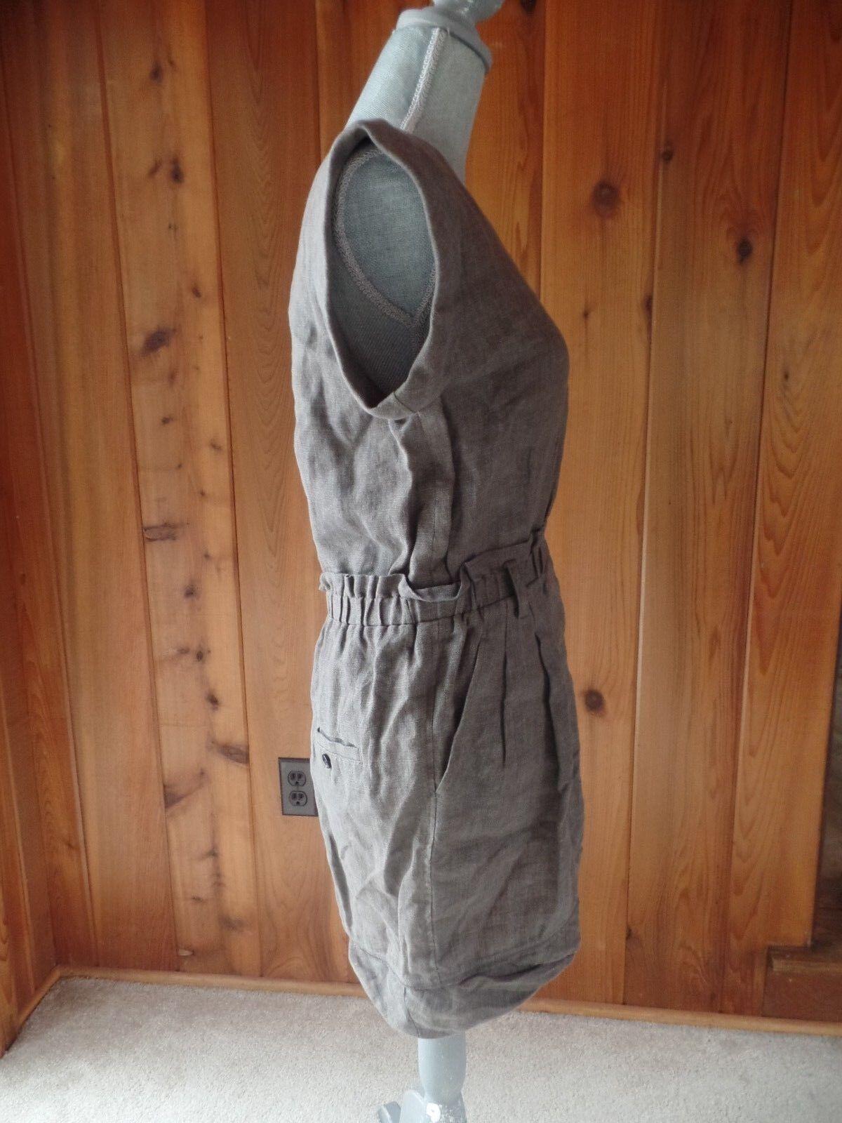 3.1 PHILLIP LIM Brown Linen Cap Sleeve Shift Dress Size 8