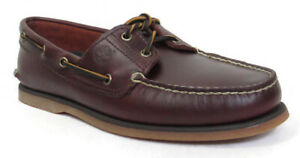 TIMBERLAND 2 Eye Classic Handsewn Men's Mid Brown Leather Boat Shoes, #25077