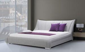 Designer Stoffbett Farbe Grau Stoff Bett Mit Lattenrahmen Modernes