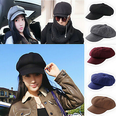 New Classic Plain Black Flat Cabbie Newsboy Gatsby Cap Mens Ivy Hat Golf Driving