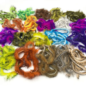 Hareline Micro Pulsator Rabbit Strips barred and Two Tone colours Fly Tying