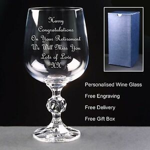 Personalised 12oz Crystal Wine Glass, Retirement Gift,