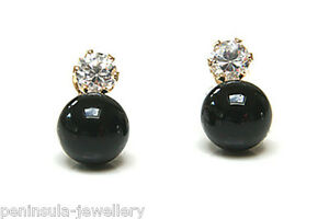 9ct Gold Black Onyx and CZ Studs Earrings Gift Boxed Made in UK