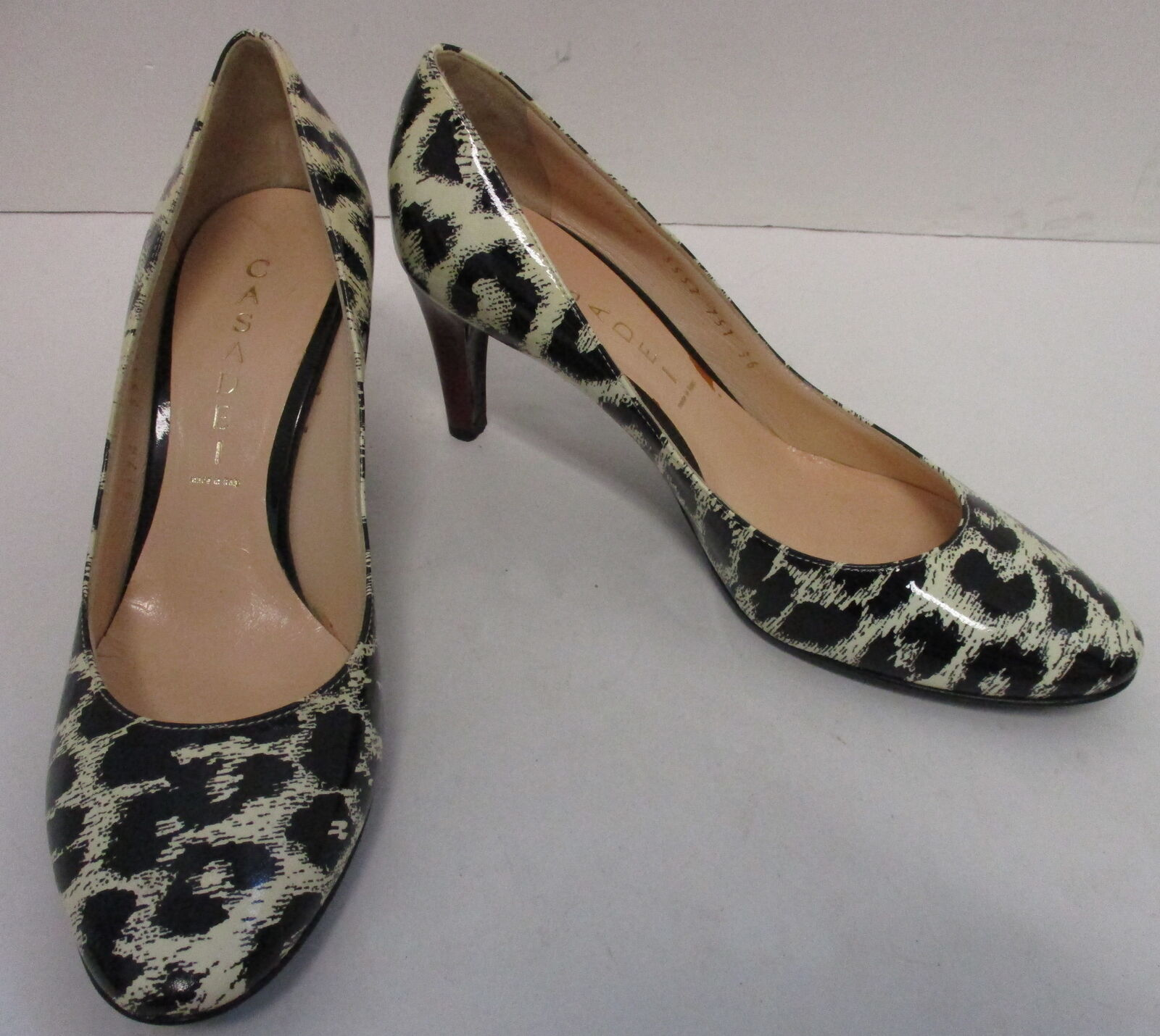 Casadei Charol Charol Charol Negro Leopardo De Salón Tacón Rojo Marfil Talla 36  venta mundialmente famosa en línea