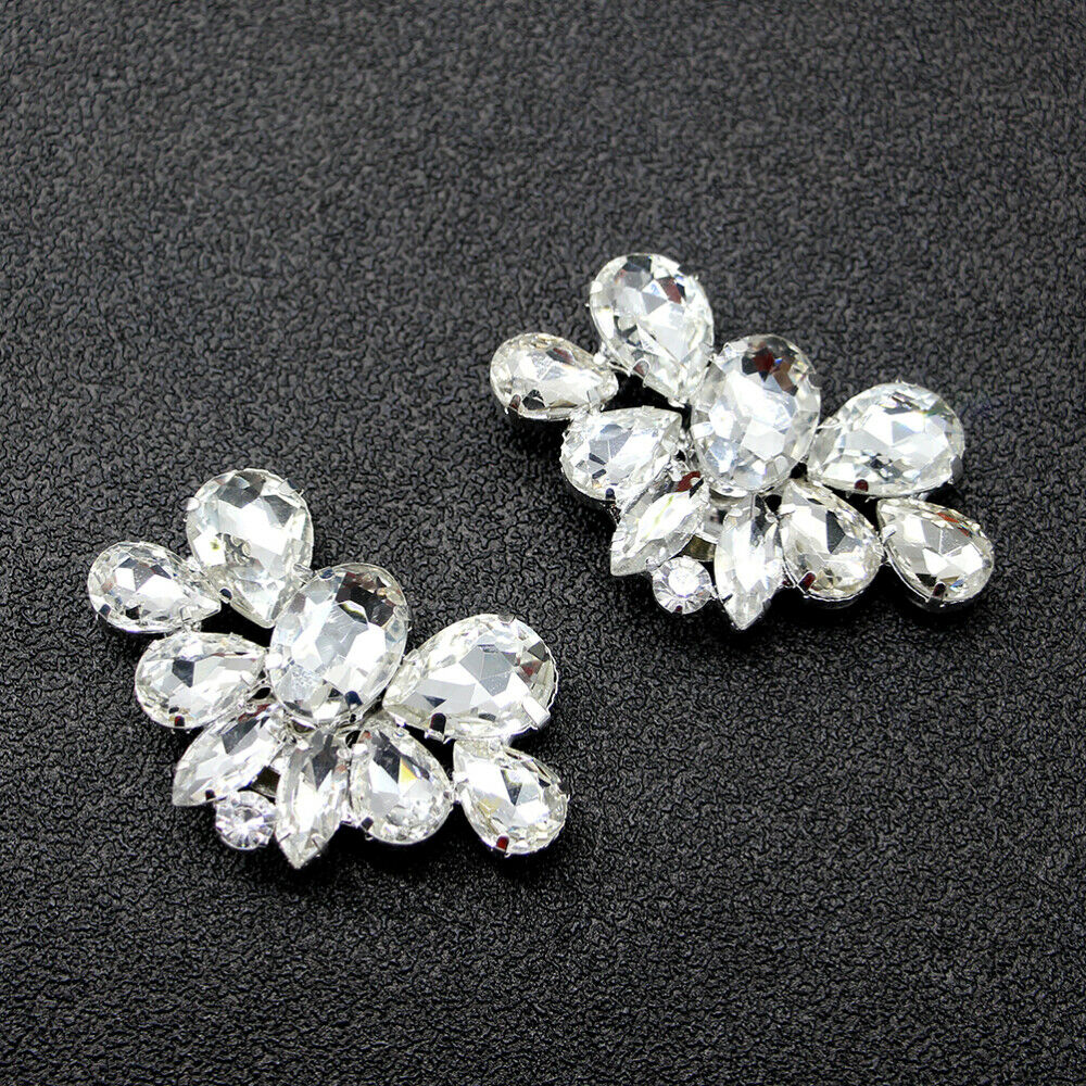 1 Pair of Crystals Shoe Buckles DIY Bridal Crystal Shoe Buckles for Party