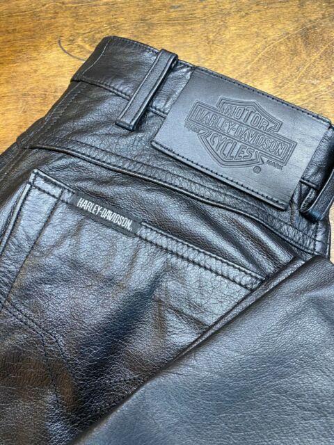 Womens HARLEY DAVIDSON Motorcycle Leather Pants ~ Size 36 / 8  ~ 5 pocket