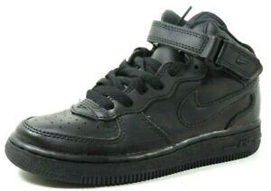 Nike-Force-1-MID-PS-Preschool-Leather-Shoes-306812-001-Black-Vintage