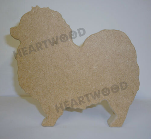 //WOODEN CRAFT SHAPE//DECORATION KEESHOND DOG SHAPE IN MDF 145mm x 18mm thick