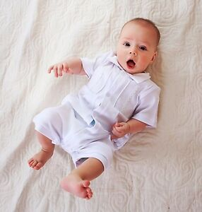 0aab62196d17 Baby Boy Romper Baptism Outfit Newborn Boy Infant Christening White ...