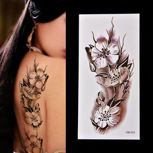 Large Pink Lilac Black Flower Vine Temporary Tattoo Body Arm Sticker