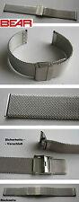 - BEAR MILANAISEUHRBAND MILANESEBAND 1,6 mm flach SICHERHEITSVERSCHLUSS 20/20 mm