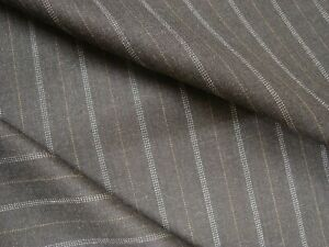 4-5-yds-English-WOOL-Cashmere-Flannel-Fabric-Suiting-8-5-oz-Coal-Stripe-162-034-BTP