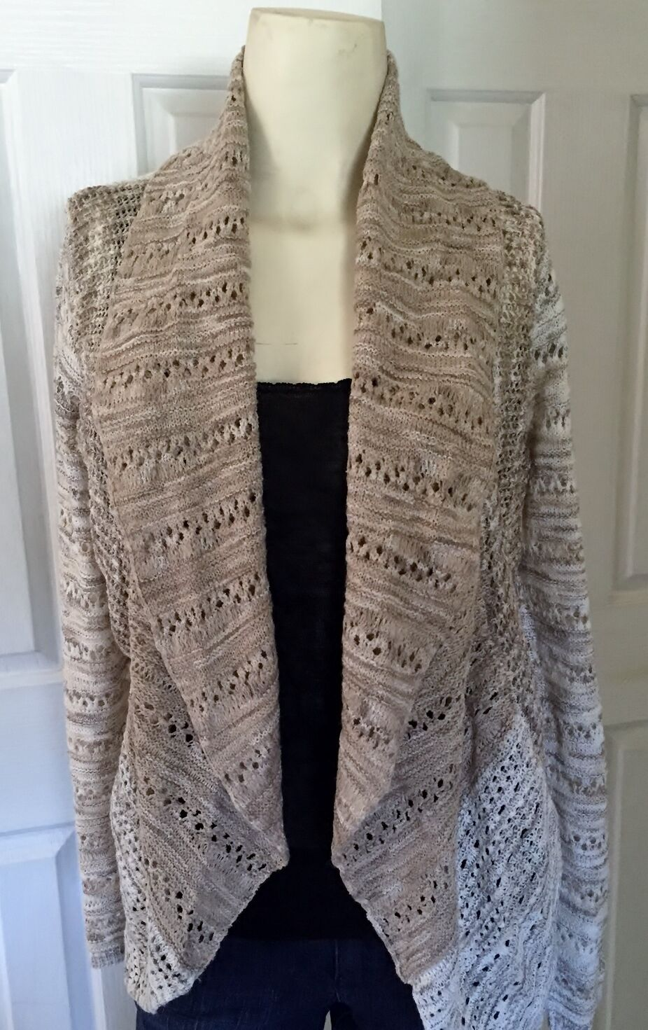 New INC Tan Acrylic Blend Pointelle Open Front Cardigan Sweater, Small