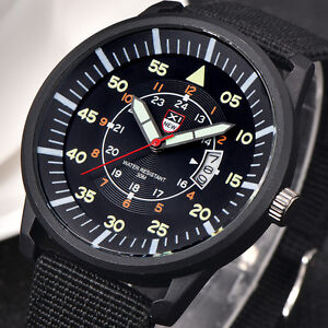 Herren-Luxus-Militaer-Sportuhr-Armbanduhr-Datum-Edelstahl-Quarz-Watch-Schwarz