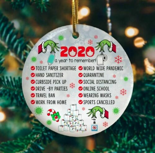 2020 A Year To Remember Green Character Quarantine Christmas Ornament Gift Decor