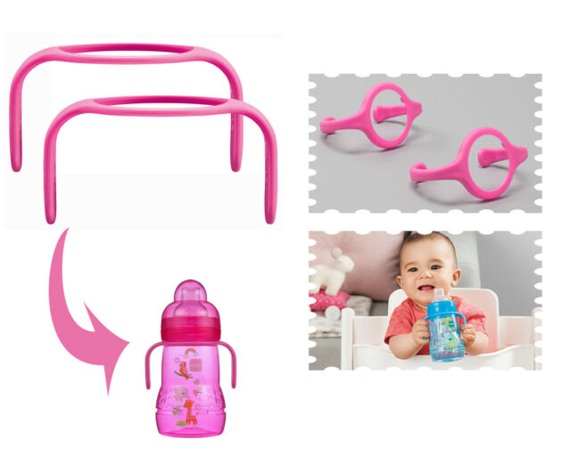 MAM Hold My Bottle Handles for Use with MAM Bottles and Trainer Bottle Pink