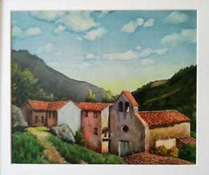 Luis-Lleo-ARNAU-grande-aquarelle-1970-Esglesiola-OSONA-61x51-cm-Catalogne