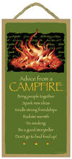 """ADVICE FROM A CAMPFIRE Primitive Wood Hanging Sign 5"""" x 10"""""""