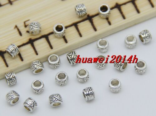 50//200//1000pcs Tibetan Silver Cylinder Spacer beads Charms Jewelry DIY 4x3mm