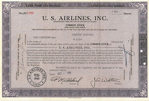 U-S-Airlines-stock-certificate-gt-1952-Florida