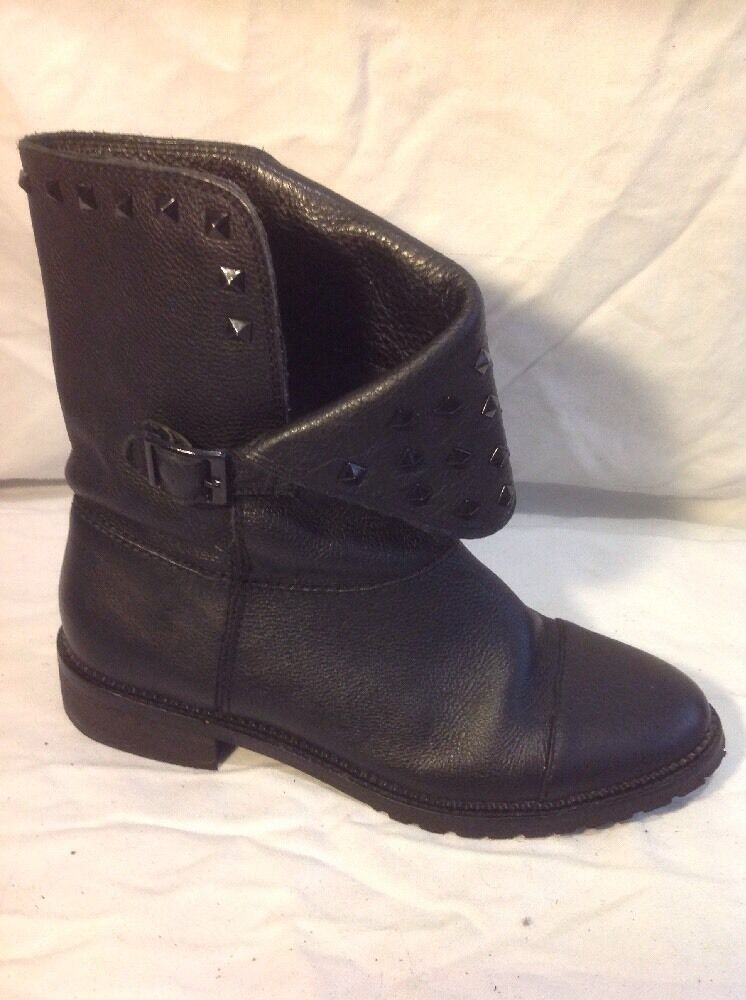 Bershka Black Ankle Leather Boots Size 38