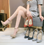 thumbnail 4 - Women Sequins Super High Heel Pointy Toe Party Stiletto Buckle Ankle Strap Shoes