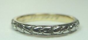 Antique-Vintage-Deco-Women-039-s-Wedding-Band-18K-White-Gold-Ring-Size-5-5-UK-K1-2