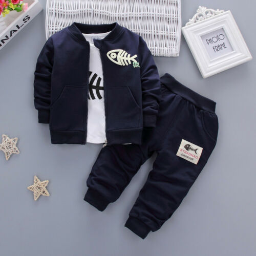 Kids Toddler Boy Baby Clothes Outfits Fish Tops T-shirt+Long Pants+Zip Coat 3Pcs