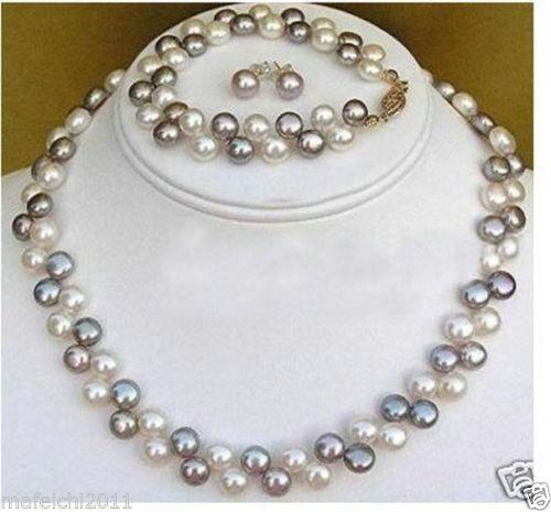 2 rows Black White pearl necklace bracelet earrings Jewellery Set