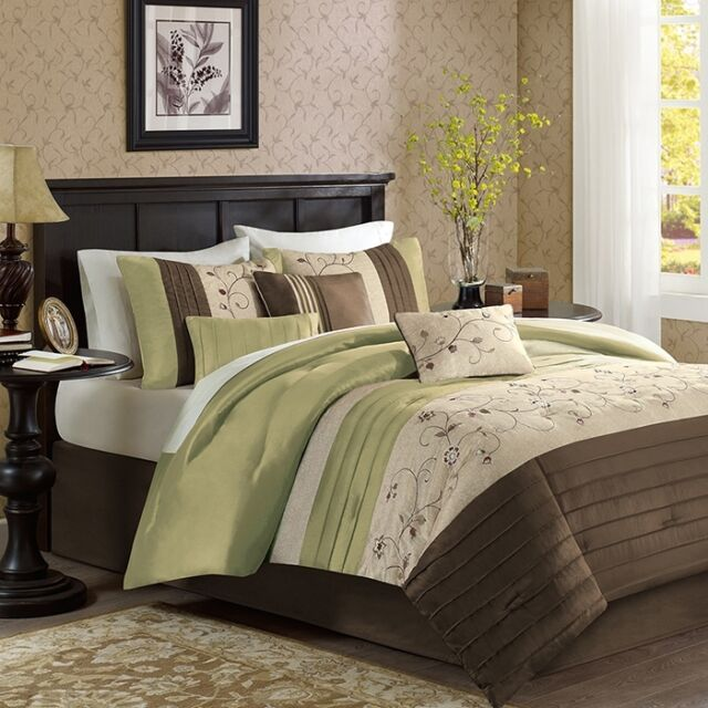 Green Brown Ivory Bed Bag 7P Comforter Set Cal King Queen Bedroom Daybed Bedding