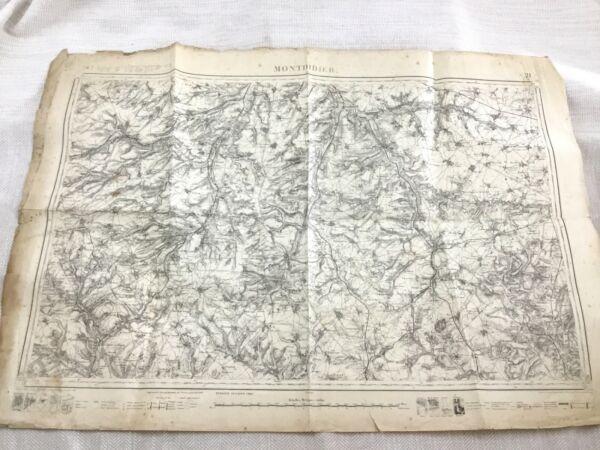 1885 Antik Französisch Landkarte Montdidier Somme Department 19th Original Modische Muster