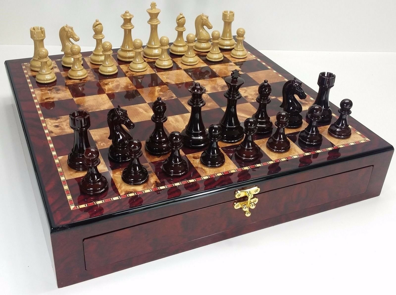 Grand Staunton Brillant Chess Set W 4 1 4  King 20  CHERRY couleur de conservation Board