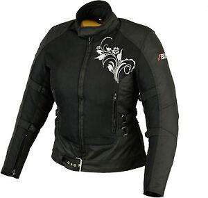 Damen-Motorrad-Jacke-Motorradjacke-Textil-Schwarz-Sommer-Jacke-Gr-S-M-L-XL-XXL