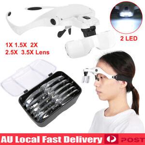 LED-Lamp-Headset-Headband-Magnifying-Glass-Head-Light-Jeweler-Magnifier-Loupe-AU
