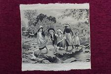 Tapiz Mecánico de Seda Río. Stevengraph. Neyrey Freres.Silk Mechanical Tapestry.
