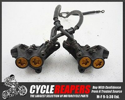 D124 2002 2003 02 03 Yamaha YZF R1 Front Brake Calipers Pads Lines