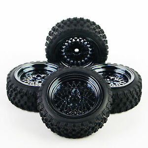 1-10-Off-Road-RC-Car-Set-4X-Rubber-Rally-Tires-amp-Wheel-Rim-12mm-Hex-For-HSP-HPI