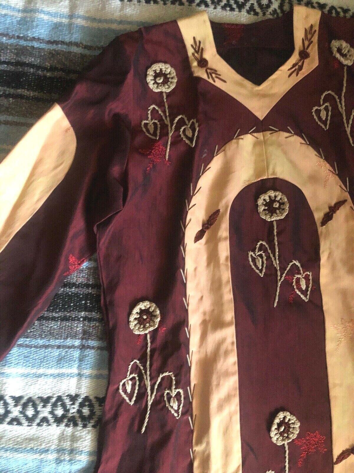 Vtg 60s 70s Ethnic PATCHWORK Crochet FLORALEmbroi… - image 3