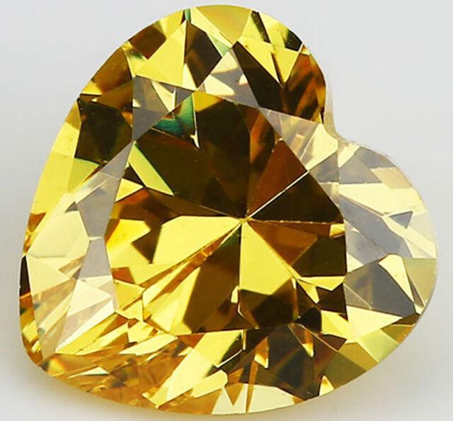 10X10MM 5.71CT AAAAA Yellow Zircon Gem Heart Faceted Cut VVS Loose Gemstone