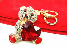 Bear With Red Heart Keyring Dangling Rhinestone Diamante Handbag Buckle Charm