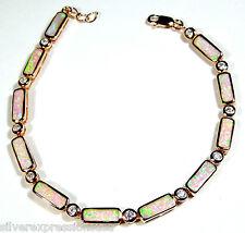 Rose Gold Over 925 Sterling Silver White Topaz & Pink Opal Link Tennis Bracelet