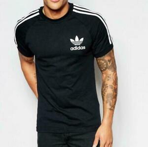 Original-Adidas-Men-039-s-Trefoil-California-Crew-Neck-Retro-Tee-Black-S-XXL-AJ8834