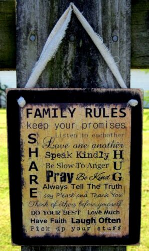 Family Rules Hanging Wall Sign Plaque Primitive Rustic Farmhouse Decor