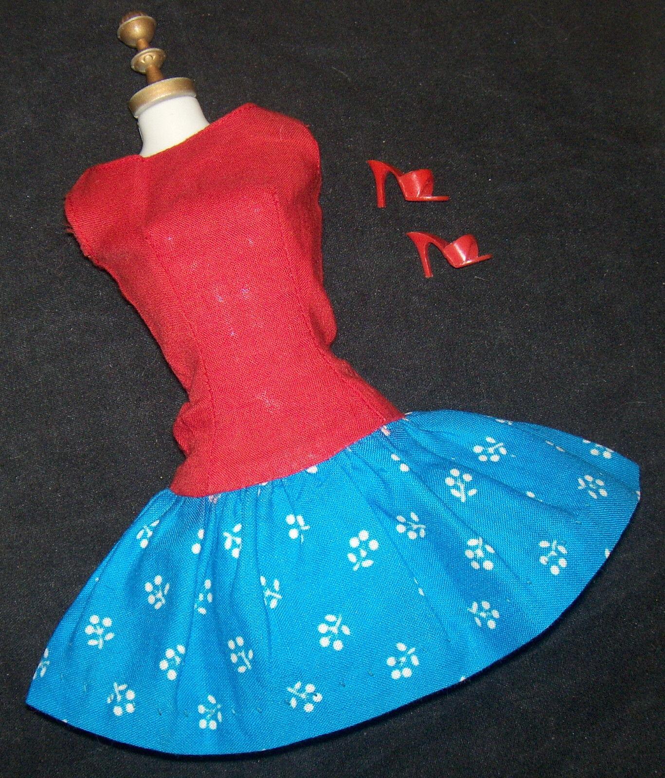 Vintage Barbie-Puppe Pak Best Schleifen Kleid 1967 Gleicher Muster da Beau Zeit