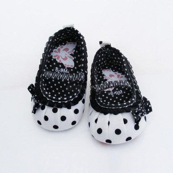 Baby Girls Cute Polk Dot Crib Shoes Infants Bowknot Anti Slip Casual Shoes 0-12M