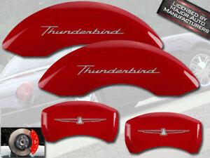 MGP Caliper Covers 10086STDBRD Thunderbird Logo Type Caliper Cover with Red Powder Coat Finish and Silver Characters, Set of 4