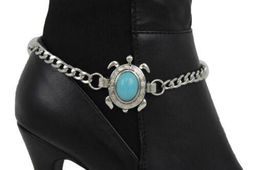 Women Silver Metal Chain Bling Boot Bracelet Shoe Anklet Turtle Charm Blue Bead