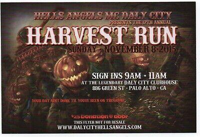 Historical Memorabilia Original Mint 2015 Daly City Hells Angels Harvest Run Party Flyer/handbill 81 Last Style
