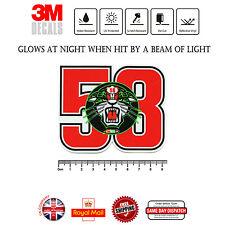 Marco Simoncelli 58 ciao Marco Laminiert 3M Reflektierend Aufkleber F296